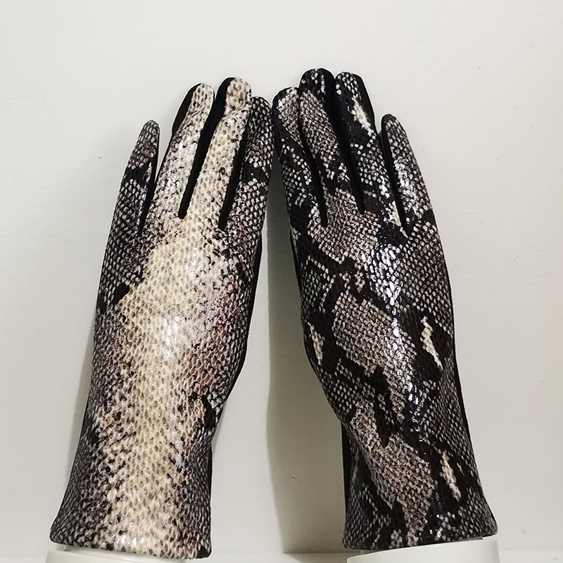 Women Touch Screen Gloves Winter Faux Animal Leather Snakeskin Pattern Driving Glove Suede Velvet Thicken Warm Leopard Glove H87