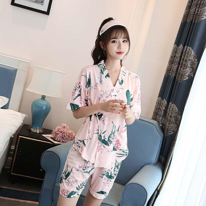 Summer Warm Qmilch Short Sleeve Japanese Korean Characteristics Pajamas Underwear Printed Convention Seamless Women's Home Wear