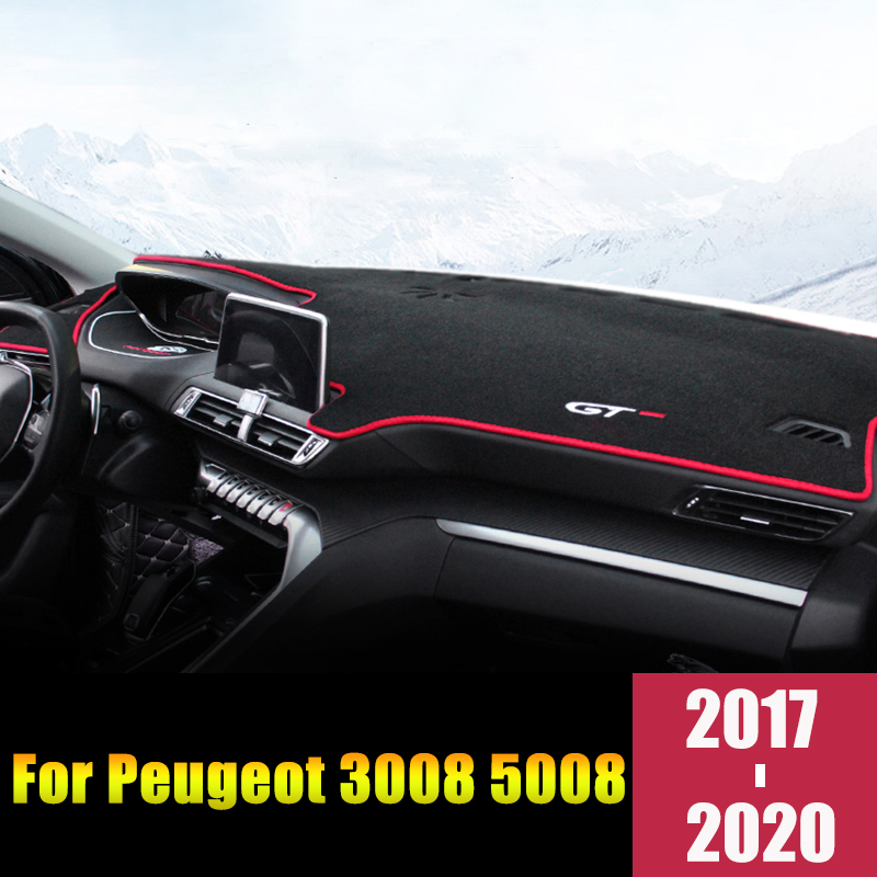 For <font><b>Peugeot</b></font> 3008 <font><b>GT</b></font> <font><b>5008</b></font> 2017 2018 2019 2020 LHD/RHD Car Dashboard Avoid Light Cover Mats Anti-UV Carpets pads Accessories image