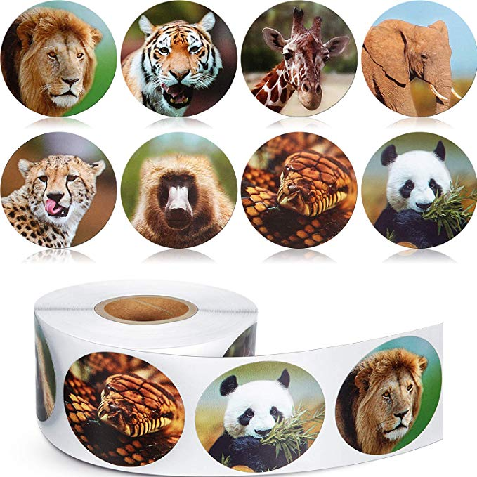 500pcs Zoo Animals Cute Stickers Roll Adhesive Diary Label Paper Sticker For Kids Children Diy Gift School Stationery Sticker