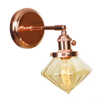 IWHD Nordic Stil Diamant Glas Wand Lichter Schalter Schlafzimmer Bad Spiegel Treppen Licht Rose Gold Vintage Wand Lampe LED Wandlamp-in LED-Innenwandleuchten aus Licht & Beleuchtung bei