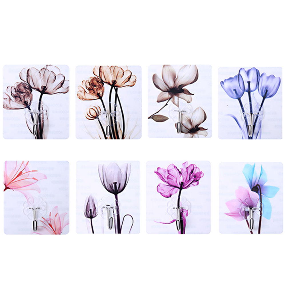 4pcs Random Creative Flower Pattern Self Adhesive Wall Door Hook Hanger Bag Keys Bathroom Kitchen Sticky Holder
