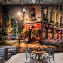 Personalizado 3d mural da parede cidade noite vista papel de parede bar café restaurante pano de fundo decoração da parede ao ar livre 3d paisagem