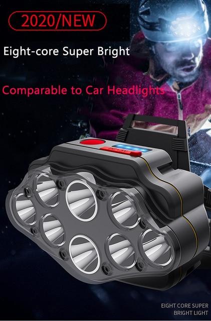 Most Bright 8 LED Headlight USB Rechargeable Headlamp High Lumen Head Lamp Light Waterproof Head Torch 70000Lumens Headlamps 2
