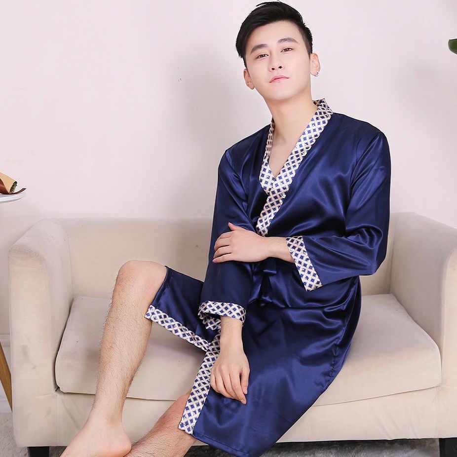 Pijama De Verano Para Hombre Batas De Seda Para Hombre Tallas Grandes Dorado De Lujo Camison De Saten Albornoz Con Cinturon Estampado Purpura Azul Ropa De Casa Top Batas Aliexpress