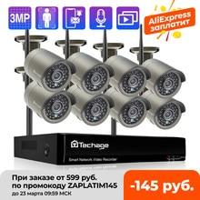 Techage h.265 8ch 3mp sistema de câmera de vídeo sem fio ao ar livre gravação áudio wi fi câmera ip p2p segurança cctv vigilância nvr kit