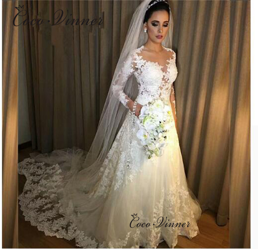 Illusion Long Sleeves Appliques Embroidered Lace On Net A-line Lace Wedding Dresses Chapel Train Pure White Vestido W0450