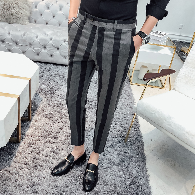 2019 High Quality Cotton Stripe Trousers Men Suit Pant Male Business Casual Slim Fit Ankle Length Pantalon Gray Black 28-34