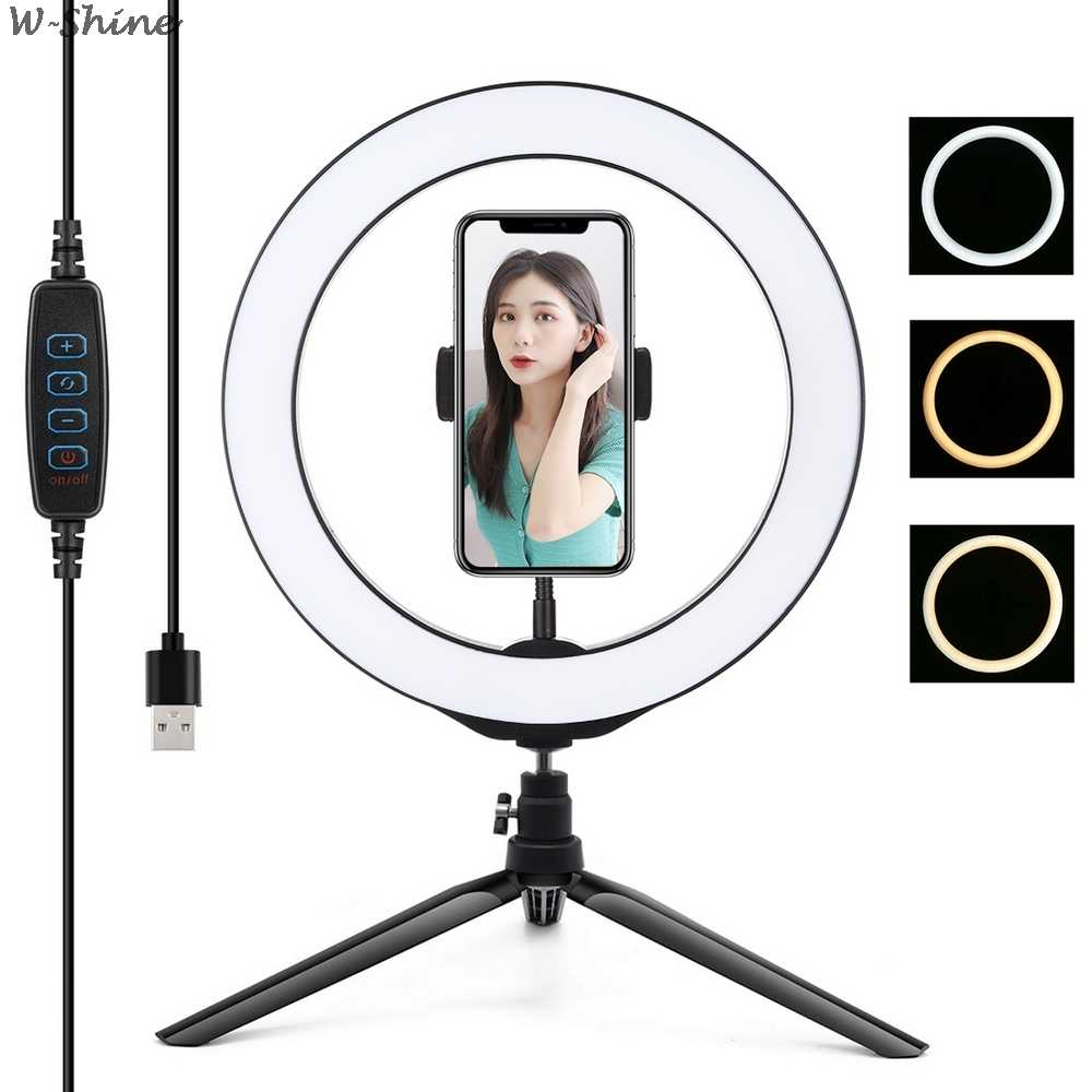 Fotografie LED Selfie Ring Licht 26CM Dimmbare Kamera Telefon Ring Lampe 10 zoll Mit Tisch Stative Für Make-Up Video live-Studio