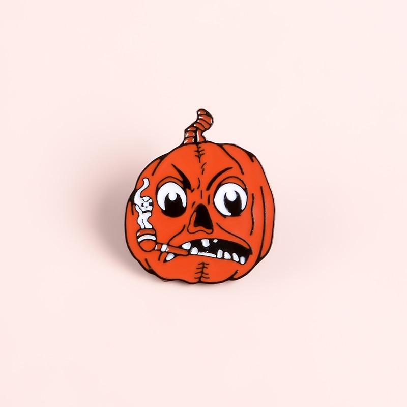 Happy Halloween Enamel Pin Custom Coffee Moon Ghost Pumpkin Umbrella Brooches Backpack Clothes Lapel Pin Fun Badge Jewelry Gift 6