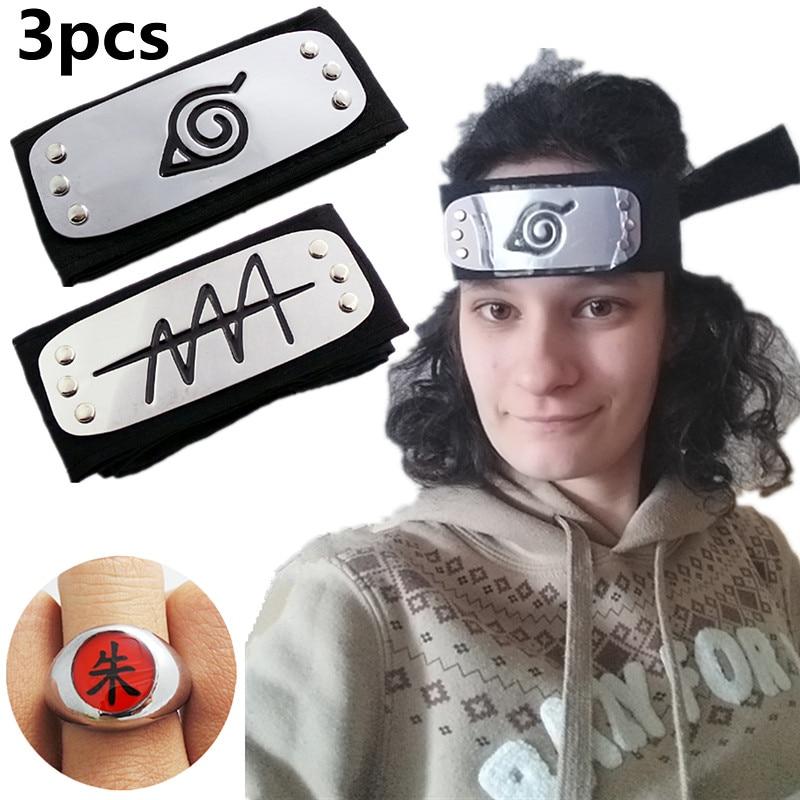 Adult And Child Black Leaf Village Headband For Naruto Cosplay Costume Kakashi Itachi Akatsuki Madara Headband Cartoon Ring Gift