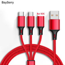 BaySerry USB Cable For iPhone XR 11 Pro Max Fast Charging 3 in 1 Micro USB Type