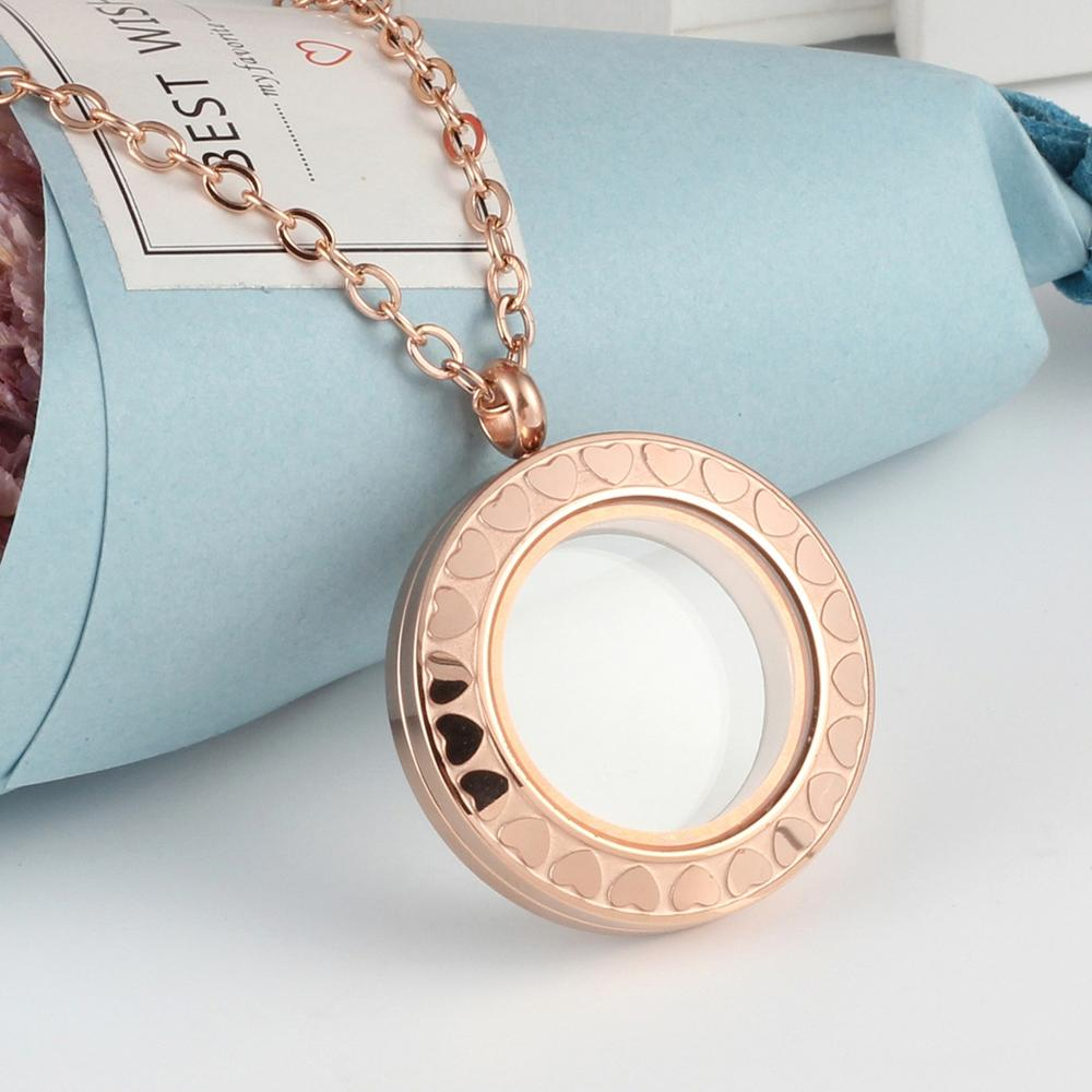 URSJEWELRY плавающая подвеска, медальон 28 мм Твист открытый 316L нержавеющая сталь Стекло Медальоны живой памяти ожерелье - Окраска металла: rose gold