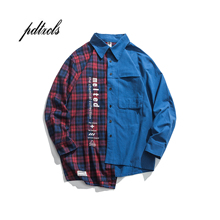 Guo-Chao Tang 2019 New Autumn Irregularity Color Patchwork Printed Plaid Men Shirts Hip Hop Casual Ribbon Male Shirt Streetwear guo chao tang 2019 new autumn irregularity color patchwork printed plaid men shirts hip hop casual ribbon male shirt streetwear