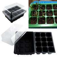12 furos plástico berçário potes planta germinação bandeja plantador vaso de flores com tampas sementes hidropônicas crescer caixa bandeja de mudas 2020|Vasos e agricultores|Casa e Jardim -