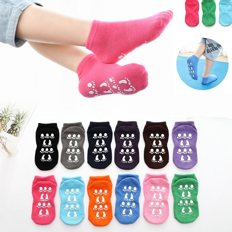 Quatro estações respirável anti-derrapante meias de chão unisex menino menina crianças piso em casa meias algodão doce cor macio tornozelo meia