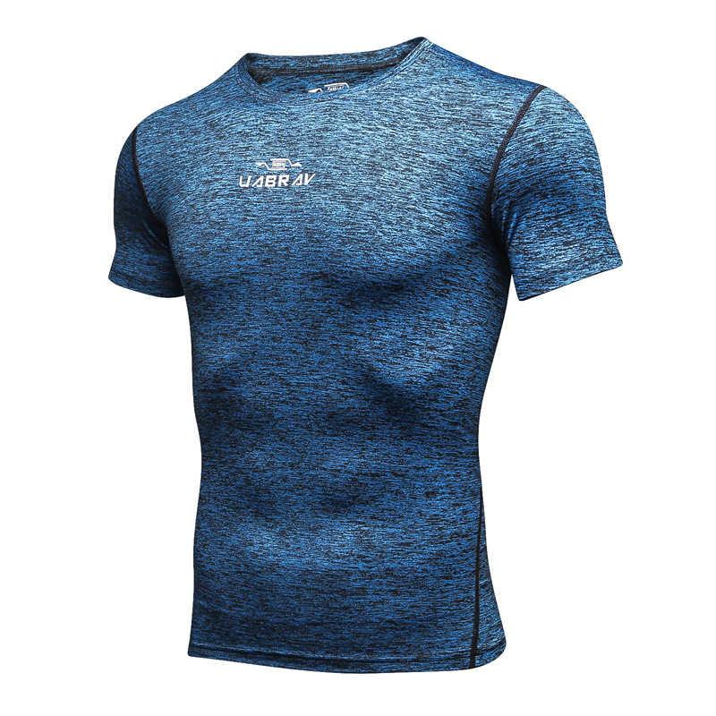 ジムシャツ圧縮男性ドライフィット Tシャツ半袖 Tシャツスポーツウェアワークアウトフィットネスクイックドライメンズランニングジャージ