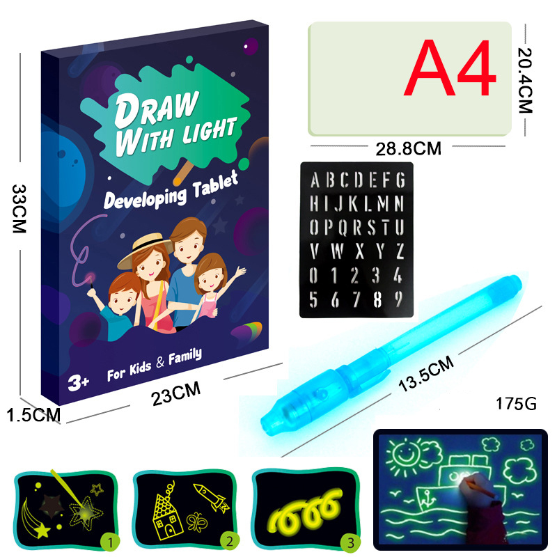 BalleenShiny Magic Luminous Drawing Board Graffiti Doodle Toys Paint With Pen Baby Early Educational Toys Gifts For Kids