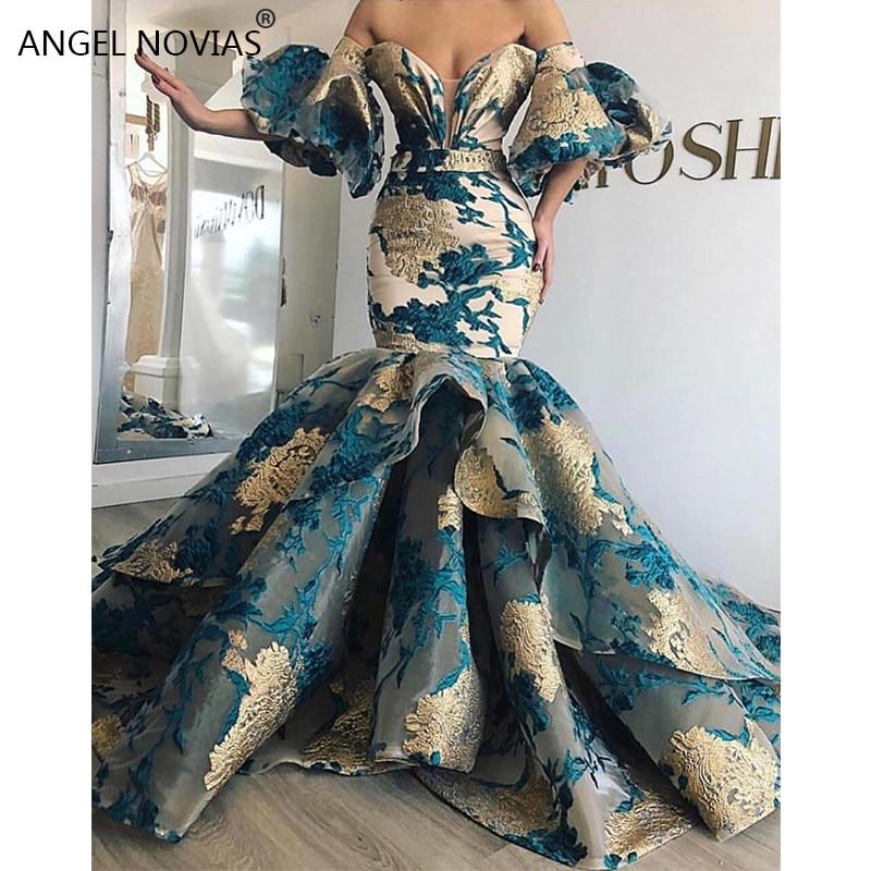 Long Mermaid Off Shoulder Arabic Lace Evening Dress 2019 Saudi Arabia Dubai Moroccan Sexy Formal Prom Gowns