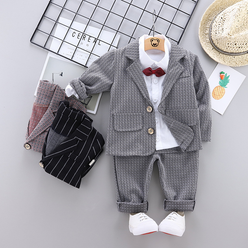3 Pcs Suits Baby Boy Clothes New Christening Formal Party Bodysuit Outfit Gift Long Sleeve Autumn Set  9 12 18 24 Monthes