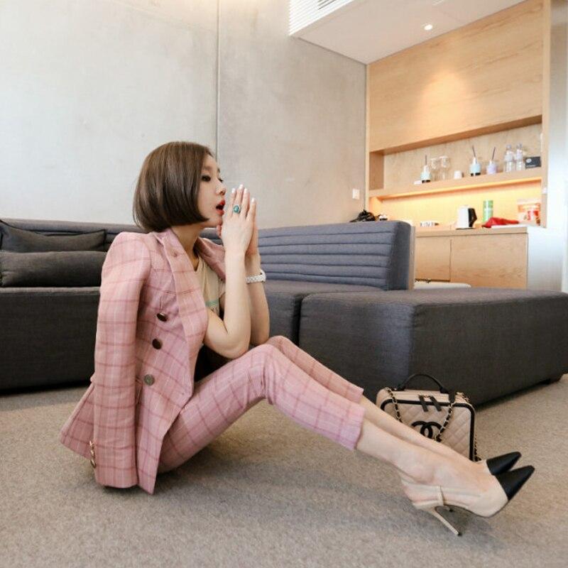 Women Clothes Fashion Elegant Plaid Suit Female Korean New Temperament Was Thin Nine Pants Business Wear Two-piece Suits