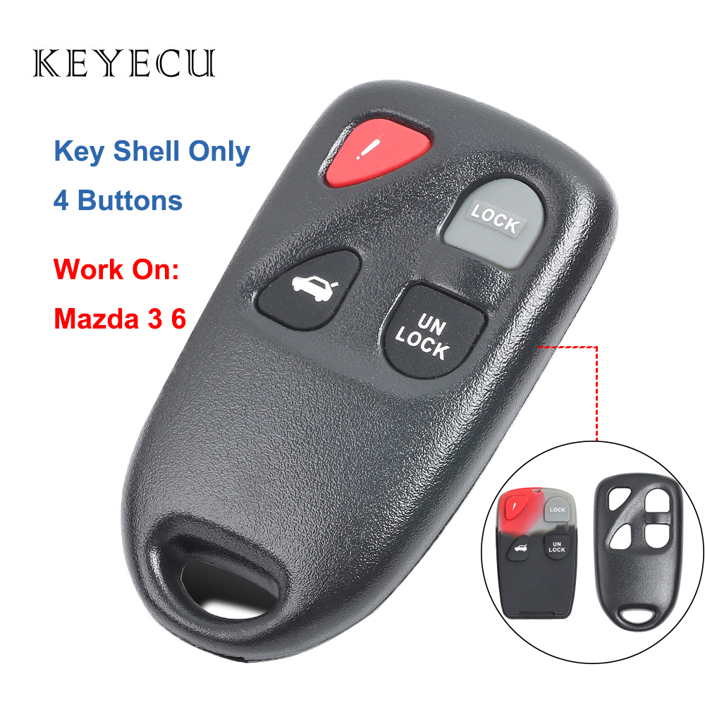 Keyecu New Remote Key Shell Case 4 Buttons for Mazda 3 6 Outer Car Key Shell Case Only , KPU41805, KPU41777, KPU41701 image