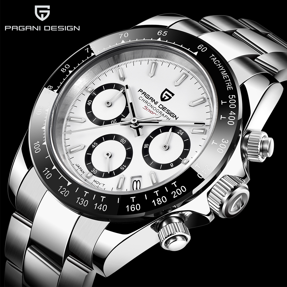 PAGANI DESIGN Fashion Luxury Chronograph Sports Watch Men Stainless Steel Waterproof Quartz Watches Relogio Masculino