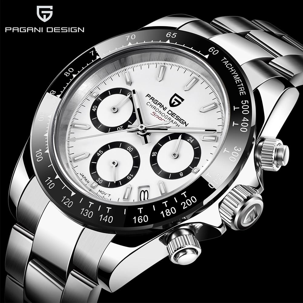 PAGANI DESIGNFashion Men Quartz Watch Luxury Sports Watch Men Stainless Steel Waterproof Chronograph Relogio Masculino Men Watch