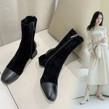 New Women Shoes High Heels Slip ankle boots winter Stretch socks boots elegant Square high heels shoes female Plus size 32- 43(China)