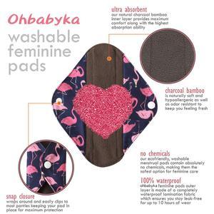 Image 3 - לשימוש חוזר נשים בד וסת רפידות במבוק פחם לספיגה נשים רחיץ אוניית תחתונים סניטרי מפית סיטונאי
