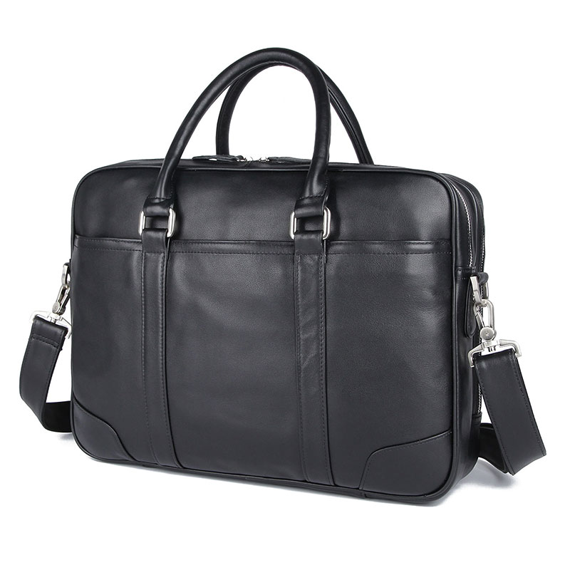 Genuine Cow Leather Handbag Men's Briefcase Classic Multi-Compartment Design Laptop Bag 7348A-1