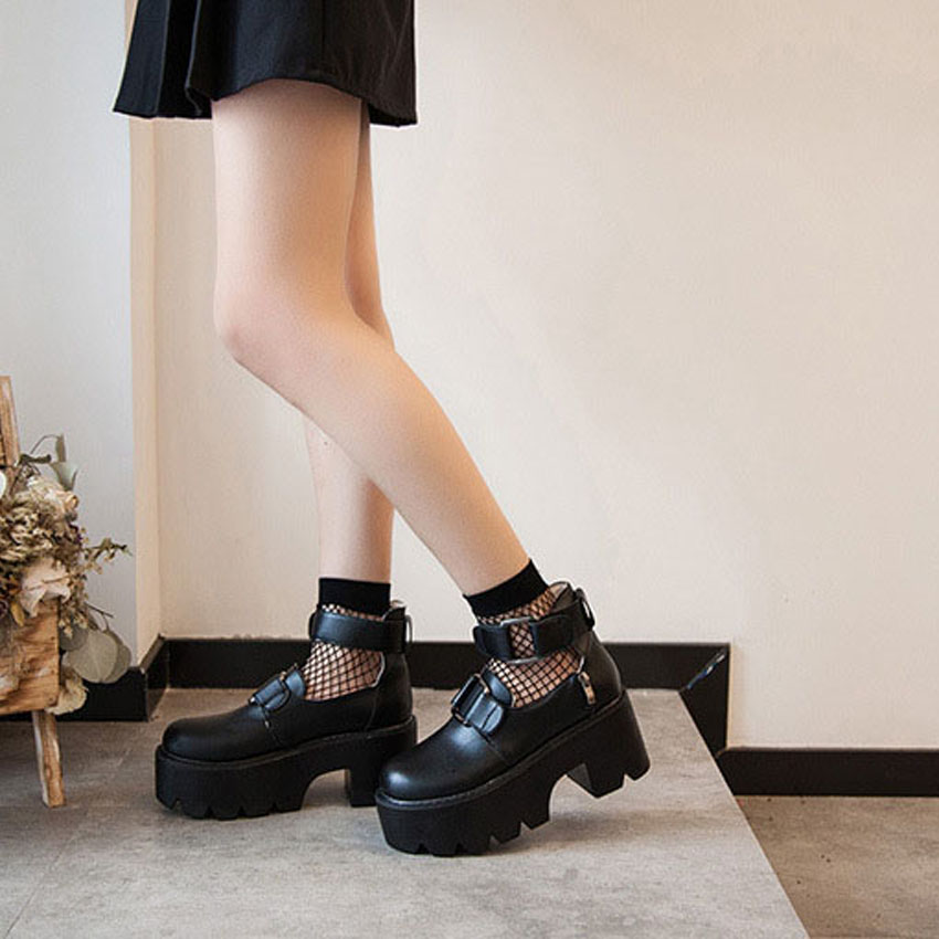 Lolita Gothic Round Head Mary Jane Shoes Japanese College Girl JK Uniform  PU Leatehr Platform Strap Waterproof Black Shoes