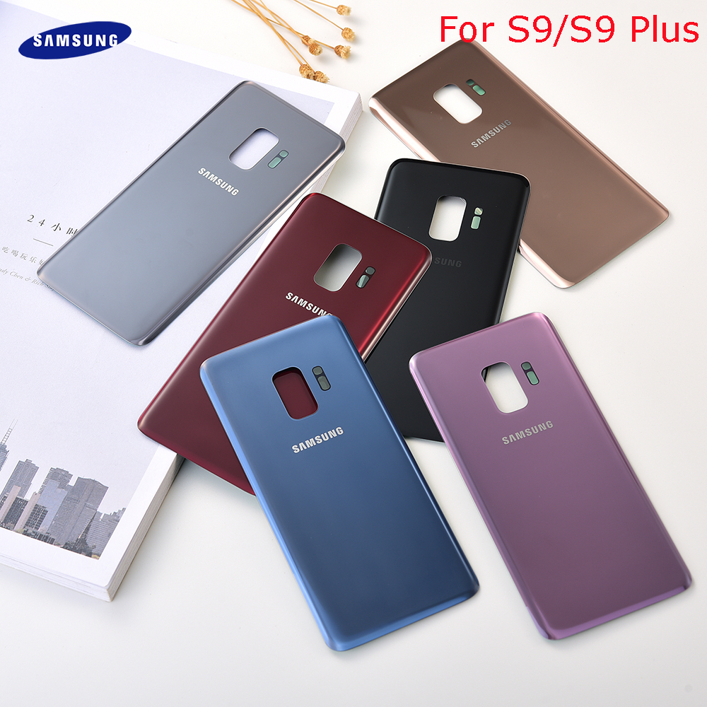 SAMSUNG Galaxy S9 Plus S9+ G965 SM-G965F S9 <font><b>G960</b></font> SM-960F Glass <font><b>Back</b></font> Battery Housing Repair Cover Rear Door Case Replacement image