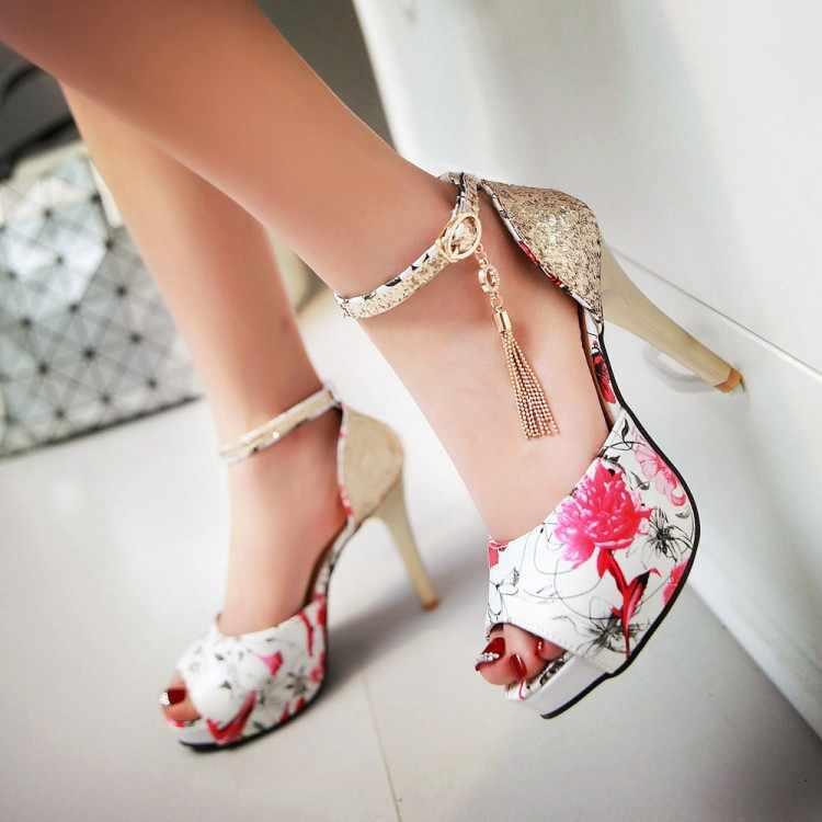 Plus Kích Thước 11 12 13 14 15 Nữ Mùa Hè Nền Tảng Giày Nữ Giày Nữ Người Phụ Nữ Trong Miệng Cá Tròn Bé Nhỏ đầu Dày Với Xăng Đan