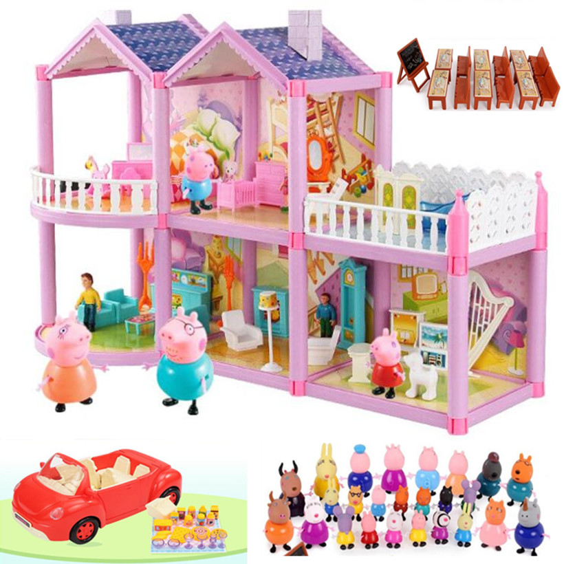 Fashion Peppa Pig Toys House Doll Sports Car Original Family Full Roles Educational For Kids Action Figure Model Children Gifts