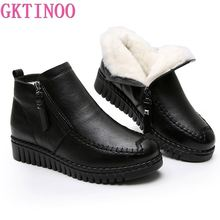 GKTINOO 2020 kobiet śnieg buty zimowe płaskie obcasy botki kobiety ciepłe platformy buty prawdziwej skóry grube wełniane futrzane botki
