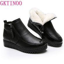 GKTINOO 2020 여성 스노우 부츠 겨울 플랫 힐 발목 부츠 여성 따뜻한 플랫폼 신발 정품 가죽 두꺼운 모피 모피 부츠