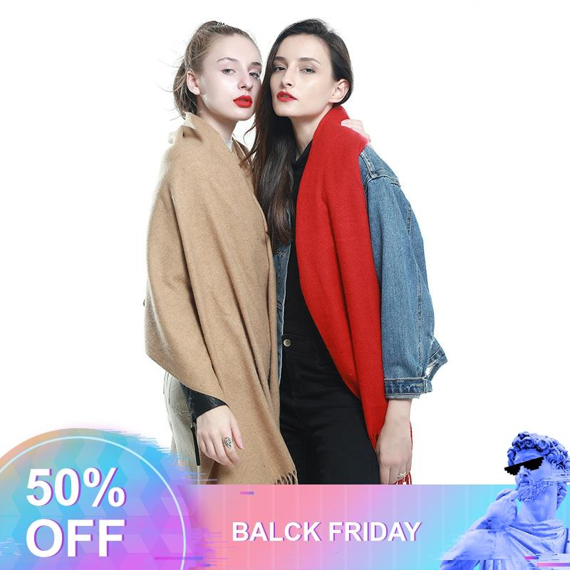 Womens Cashmere Scarf 2019 Pashmina Shawl Wraps With Tassel Fringe Oversize Winter Thick Warm Blanket Scarves Luxury For Women