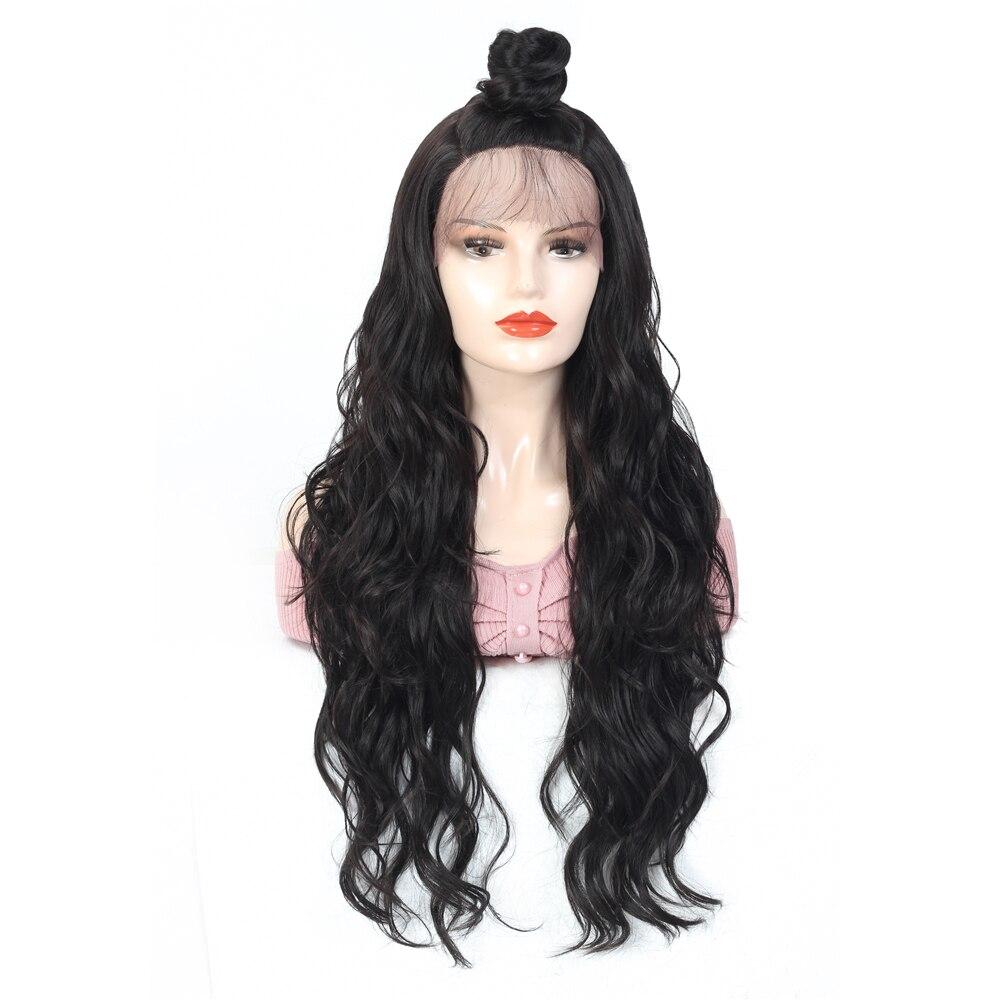 Preto colorido perucas sintéticas da parte dianteira
