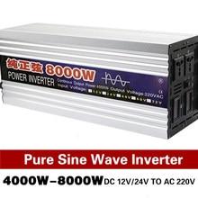 Onduleur à onde sinusoïdale Pure, convertisseur de puissance pour installation solaire, pour voiture, dc 12V 24V à ac 8000 V 5000W 6000W