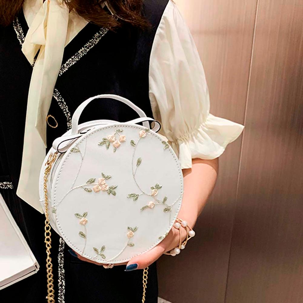 Women's Fashion Designer Lace Fresh PU Crossbody Bag Solid Color Small Round Bag Leisure Panelled Chest Waist Belt Bags A02