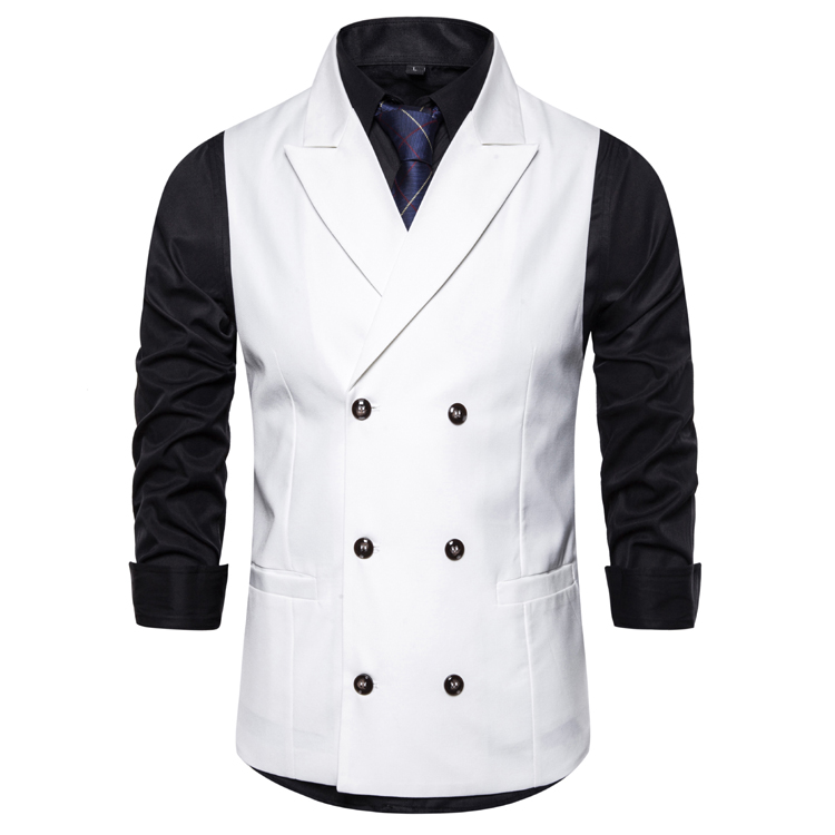 Fit Mens Suit Vest Peak Lapel Double-breasted Vests For Men