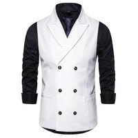 Fit Mens Suit Vest Peak Lapel Double breasted Vests for Men