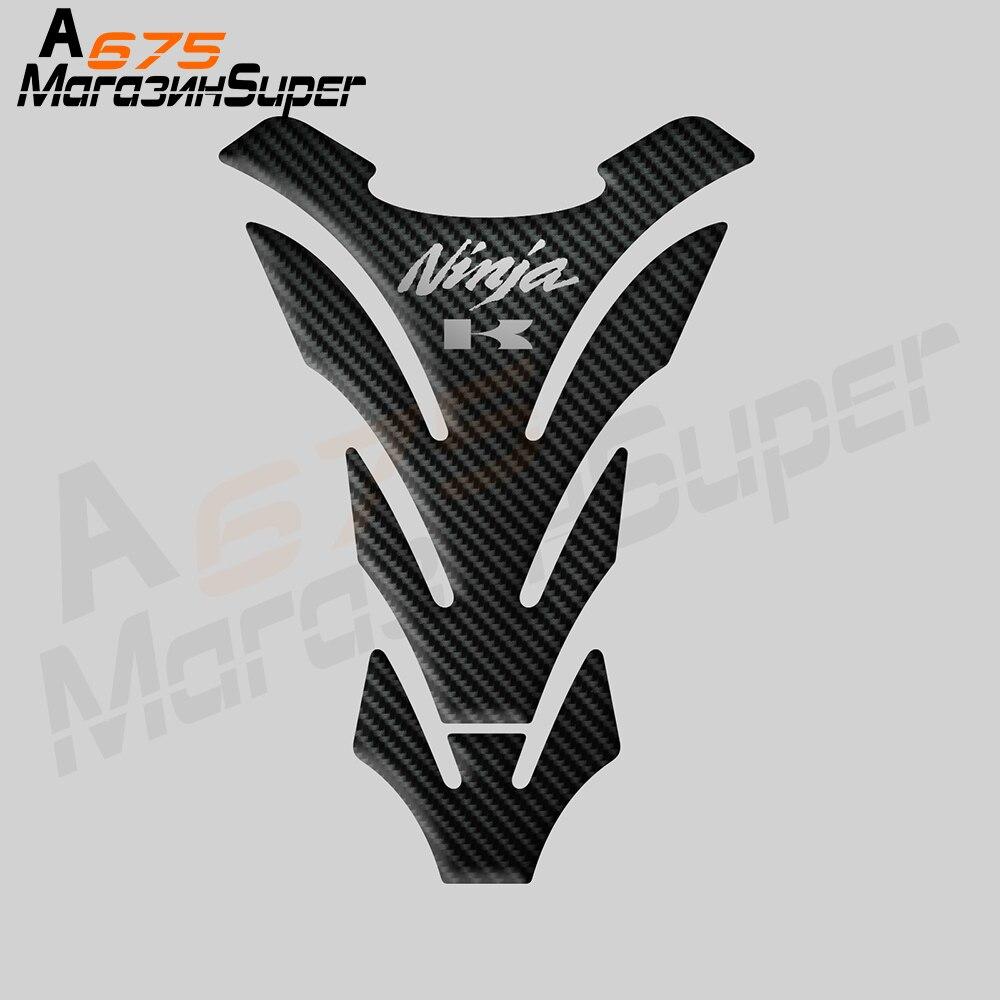 3D Motorcycle For Kawasaki Ninja Ninja 250 300 400 650 R Z800 Z900 ER-4n ZX 14R Fuel Tank Pad Reflective Carbon Fiber Bone Black