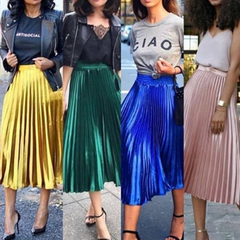 New Spring 2019 Women Long Metallic Silver Maxi Pleated Skirt Midi Skirt High Waist Casual Party Skirt Vintage Autumn Warm Skirt
