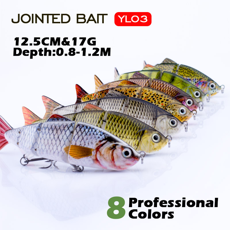 Agoie Hotsale 12cm Fishing Lure Multi Jointed Hard Bait Lifelike Joint Bait Wobblers Sinking Swimbait Fishing Lure Crankbait