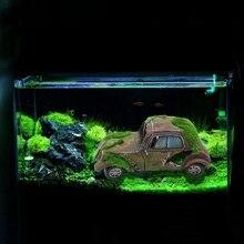 Estatua decorativa creativa para peceras de coche para decoración de Acuarios y Peceras musgo flocado Vintage coche musgo flocado antiguo