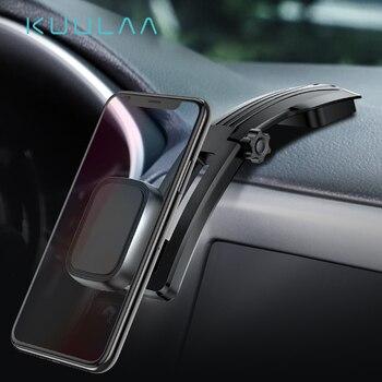 KUULAA Magnetic Car Phone Holder for iPhone Samsung Foldable Mount Mobile Phone Holder for Dashboard Paste Car Holder Stand
