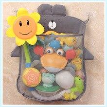 Сетчатая Сумка на присоске для ванной комнаты, дизайнерская корзина для игрушек, мультяшных животных, тканевая сумка для хранения игрушек и...