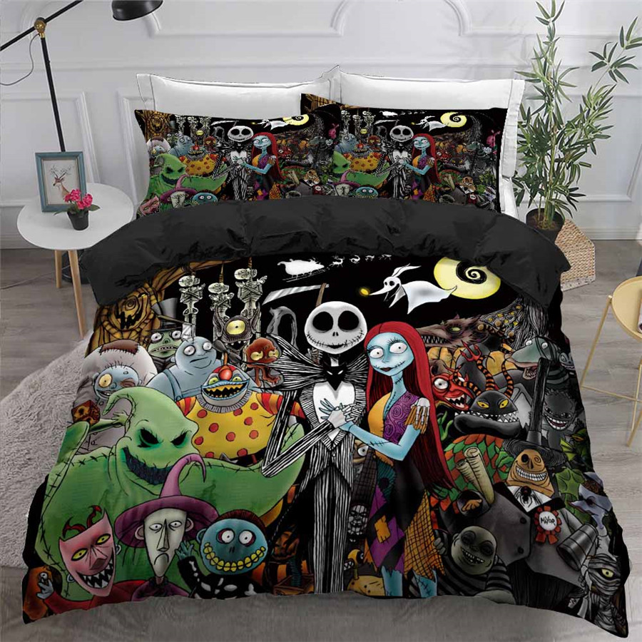 HELENGILI 3D Bedding Set Nightmare Before Christmas Print Duvet Cover Set Bedcloth With Pillowcase Bed Set Home Textiles #SDY10